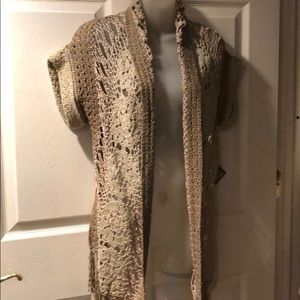 NWT Curio for Anthropologie crochet shawl vest M
